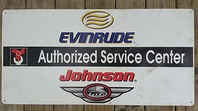Vintage Authentic Johnson Evinrude Omc Metal Motor Boat Sign #6