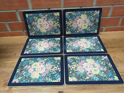 Pretty Vintage Cloverleaf Place / Table Mats Set Of 6 Boxed Peony Design