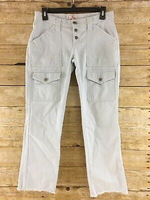 Joie Cargo Ankle Pants Womens Size 26 Cropped Cut Off Fringe Frayed Button Fly
