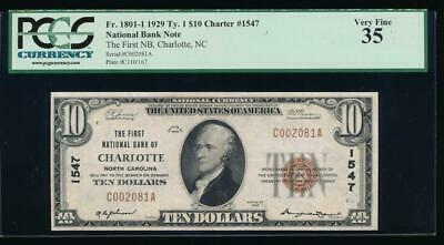 AC 1929 $10 First National Bank of Charlotte, North Carolina ch# 1547 PCGS 35