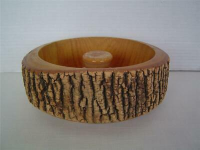 Vtg Ellwood Rustic WOODEN BARK NUT BOWL Dish~Real Tree Wood~NUTCRACKER & 2 PICKS