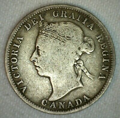 1886 Canada Twenty Five Cent Coin 25c Silver Very Good