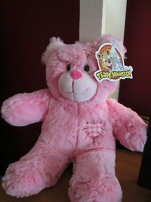 TEDDY MOUNTAIN PLUSH PINK BEAR WITH  PATCHES NWT MAKES sound