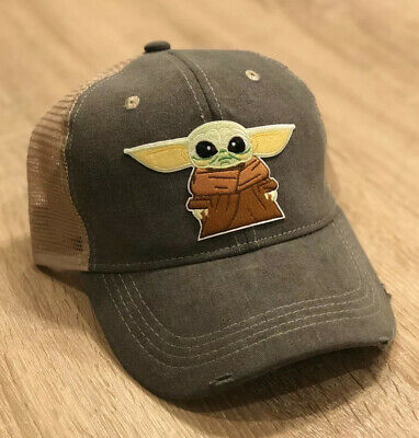 Baby Yoda Patch Style Cap Hat Mandalorian Star Wars Figure The Child Gray & Tan