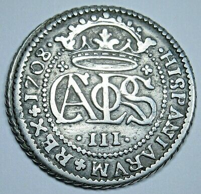 1708 XF Spanish Silver 2 Reales Piece of 8 Real Colonial Pirate Two Bits Coin