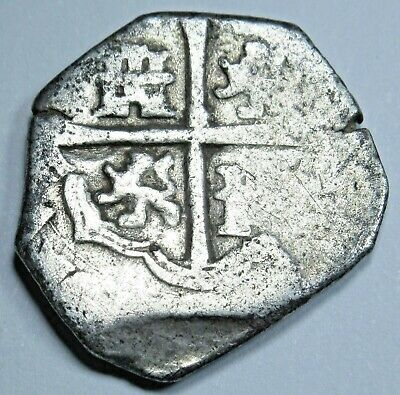 1600's Spanish Seville B Silver 1 Reales Real Antique Colonial Pirate Cob Coin
