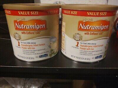 2 X Enfamil Nutramigen with Enflora LGG Powder 19.8 Oz