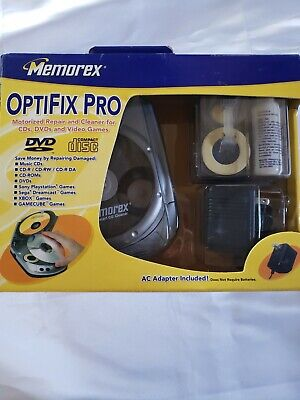 MEMOREX OPTIFIX PRO MOTORIZED REPAIR & CLEANER KIT FOR CDs DVDs AND VIDEO GAMES