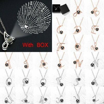 I Love You 100 Languages Light Projection Pendant 26 Alphabets Fashion Necklace