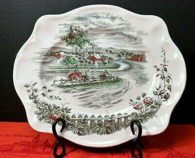 "Johnson Bros. THE ROAD HOME 12"" Platter Made in England, Vintage"