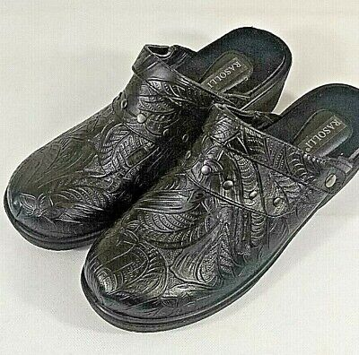 Rasolli Womens  Clogs Black with designer strap  and toes size 11 NWOT