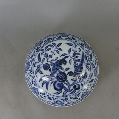 Chinese Old Marked Blue & White Flowers Fruits & Birds Pattern Porcelain Lid Box