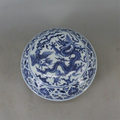 Chinese Old Marked Blue and White Dragon and Phoenix Pattern Porcelain Lid Box