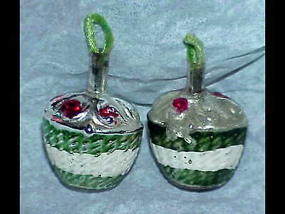 2 antique glass 1930's German Feather Tree Flower BASKET Christmas ornaments