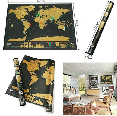 New Scratch Off World Map Deluxe Edition Travel Log Journal Poster Wall Decor