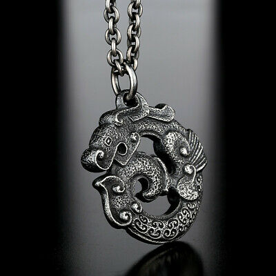 Antique Chinese Sterling Silver Ancient China Dragon Necklace Pendant Jewelry