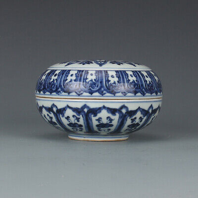 Chinese Old Marked Blue and White Flowers Pattern Porcelain Lid Box