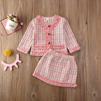 UK Kids Baby Girl Winter Clothes Plaids Coat Tops+Tutu Dress Formal Outfit Set