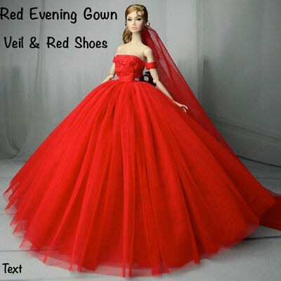 New barbie doll clothes outfit princess wedding evening red dress & veil.