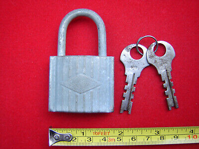 Vintage old antique small French padlock with two key