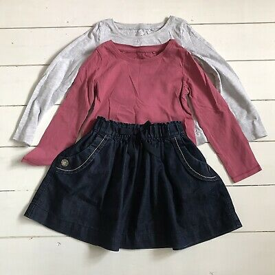 4-5 Years Next Demin Skirt and 2  x Long Sleeve Tops
