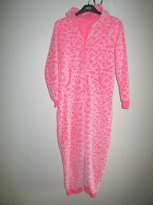 Girls M&S Cosy Leopard Hooded Onesie (Not Gerber) Neon Pink Age 15-16 Years