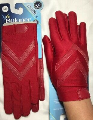 Isotoner Womens Classic Stretch Unlined SmartDri/Touch Driving Gloves Red L/XL