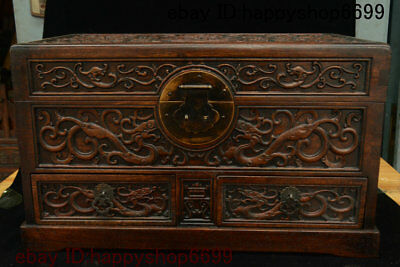 Old Chinese Huang Huali Wood Dragon Beast Totems Storage Jewelry Box Case Statue