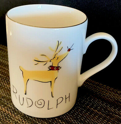 Pottery Barn Reindeer Rudolph Christmas Mug Coffee Cup Red Nose