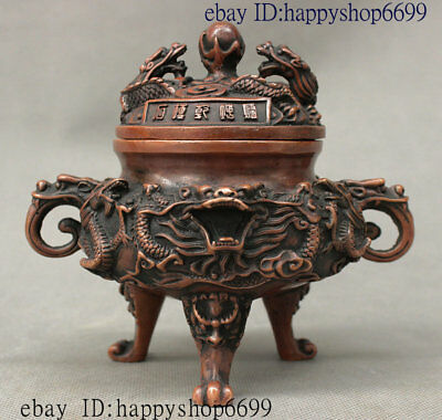 Chinese Feng shui Bronze Dragon Loong Beast Head Incense Burner Censer Incensory