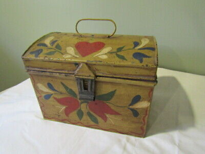 Antique Painted TIN TOLEWARE DOCUMENT BOX CHEST Dome Lid Folk Art