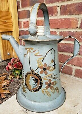 Antique Pennsylvania Dutch Tin Toleware Tole Painted Large Coffee Pot Primitive