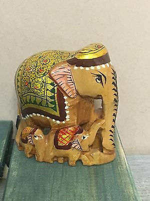 Hand Crafted Indian Royal Elephant Gold Painted Wooden Statue Meenakari