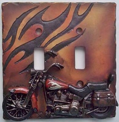 Motorcycle Double Light Switch Plate Cover VTG Look Ornate Rustic Retro Western