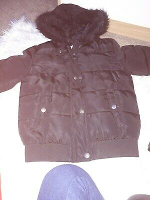 🌸GEORGE Girls Black Quilted Faux Fur Hooded Zip Jacket Coat Age 8/9 Years🌸
