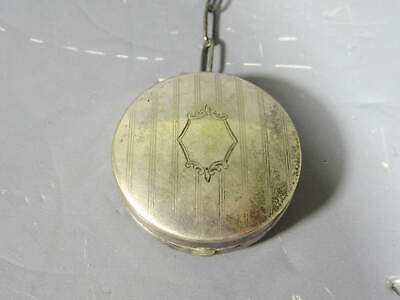 Small Silver Plate Powder Puff Compact on Short Chain