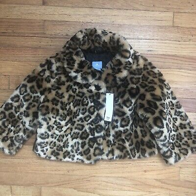 NWT Baby GAP Baby Girl 12-18 Months Leopard Print Faux Fur Jacket
