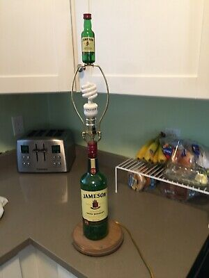 JAMESON IRISH WHISKEY TABLE LAMP * NO SHADE**  Wood Base With Top Hard To Find!