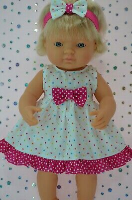 Dolls Clothes For 38cm Miniland Doll MULTI POLKA DOT DRESS~HEADBAND