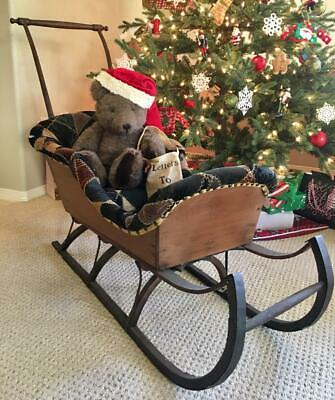 Antique primitive Childs Victorian WOODEN CHRISTMAS SLEIGH with handles AAFA