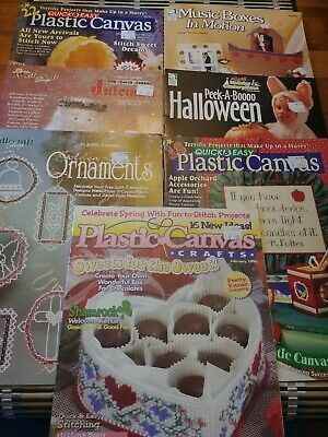 Lot Of 7 Plastic Canvas Craft Magazines And Booklets