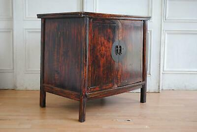 Vintage Oriental Traditional Chinese Ming Style Elm Retracting Two Door Cabinet