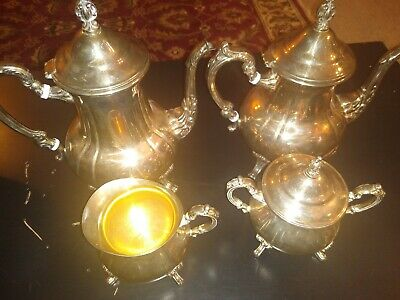 4 Pc Vng.Towle Louis Philippe Silverplate Tea Set Coffee Teapot Creamer, Sugar.