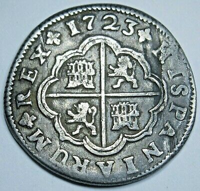 1723 Spanish Silver 2 Reales Two Real Old Antique Colonial Two Bits Pirate Coin