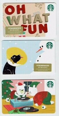STARBUCKS Gift Card 2019 Christmas - LOT of 3 - Collectible Holiday- DOG in Cone