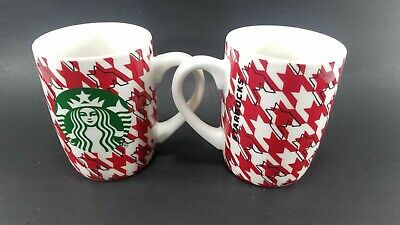 STARBUCKS 2017 Houndstooth Checkered COFFEE 10oz MUG CUP Lot of 2 Tea Red White