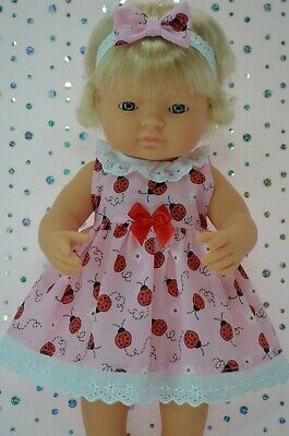 Dolls Clothes For 38cm Miniland Doll LADYBUG PATTERN DRESS~HEADBAND