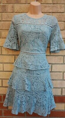 Girls On Film Sage Green Lace Crochet Tiered Skater Party A Line Frill Dress 14