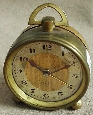 Antique Zenith Watch Co Swiss Made Vintage 8 Day Travel Clock Collectible Alarm
