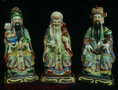 "18"" China Rare Porcelain 3 Longevity God Fu Lu Shou Life Tongzi Ru yi Statue Set"
